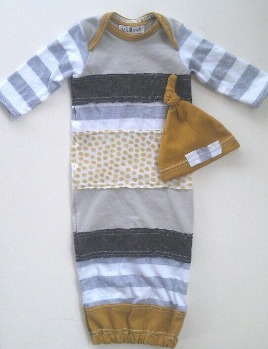 Upcycled Baby Coming Home Boy Gown. Newborn Hospital Outfit w matching hat. Lilhoot. $65.00, via Etsy.