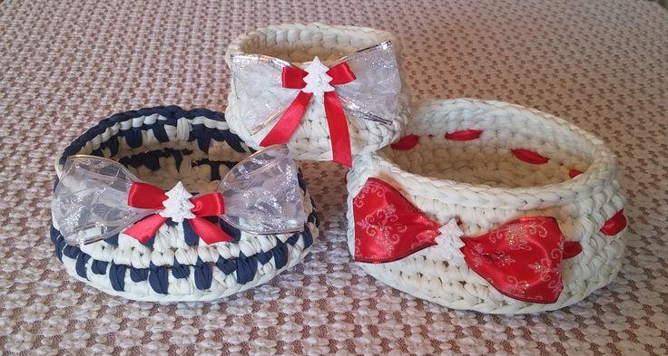 Cestini natalizi porta oggetti. Uncinetto. Crochet.