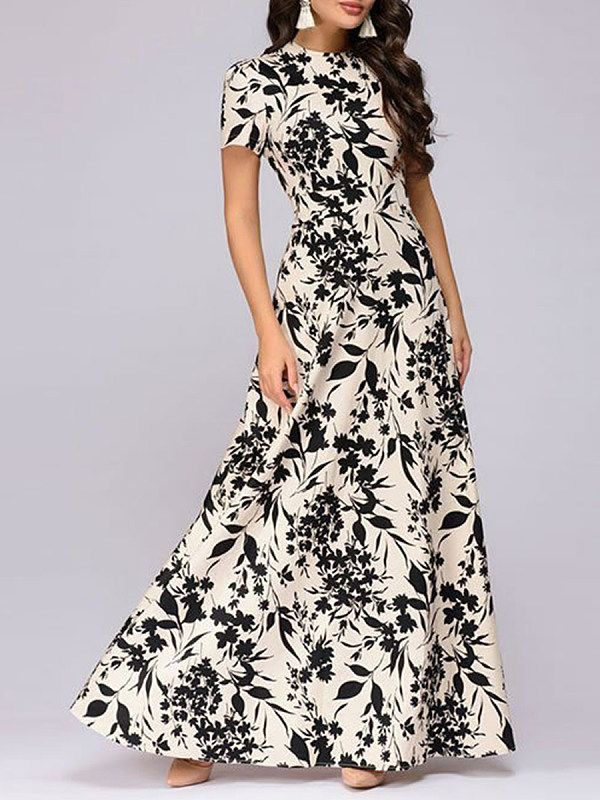 90b5a683306 Round Neck Floral Printed Maxi Dress - Selaros.com Maxi Dresses Online  India