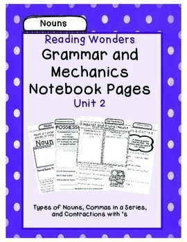 In this package you will find pages for your students notebooks that help them understand the different types of nouns and the mechanics skills for Grade 1 grammar and mechanics lessons. They can be shrunk to fit composition books as well. Information covers the definition, samples of each type, and some practice questions.$