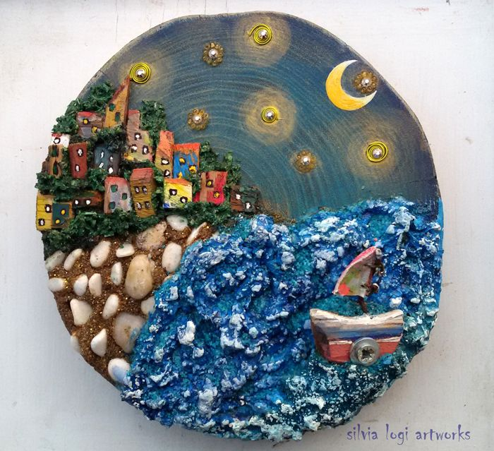 Stormy sea village on wood section