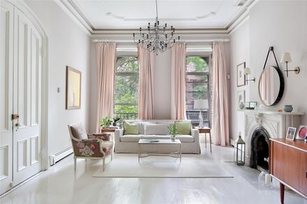 Pink curtains with white curtain rod bay window for New york style curtains