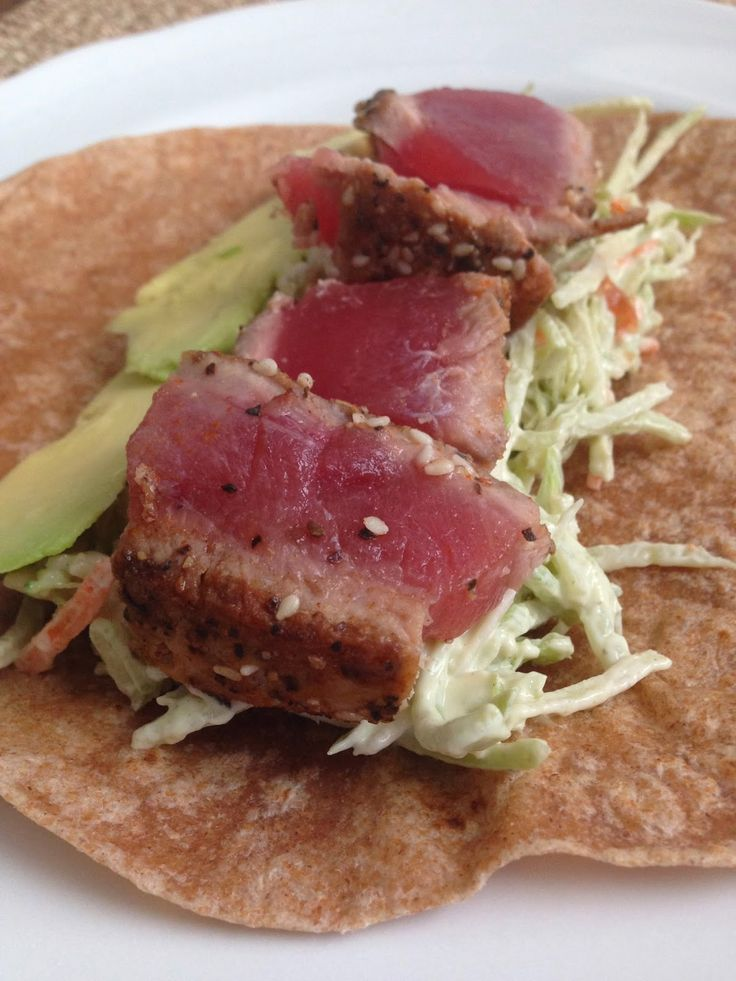 taylor made: seared ahi tuna wraps with wasabi mayo slaw & avocado