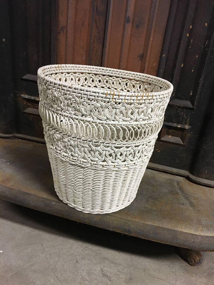 Wicker Basket White Wicker Waste Basket Country Decor Victorian Decor Cottage Decor
