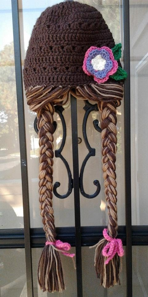 Brunette Rapunzel Character Hat with Long Braids by Evermicha, $25.00