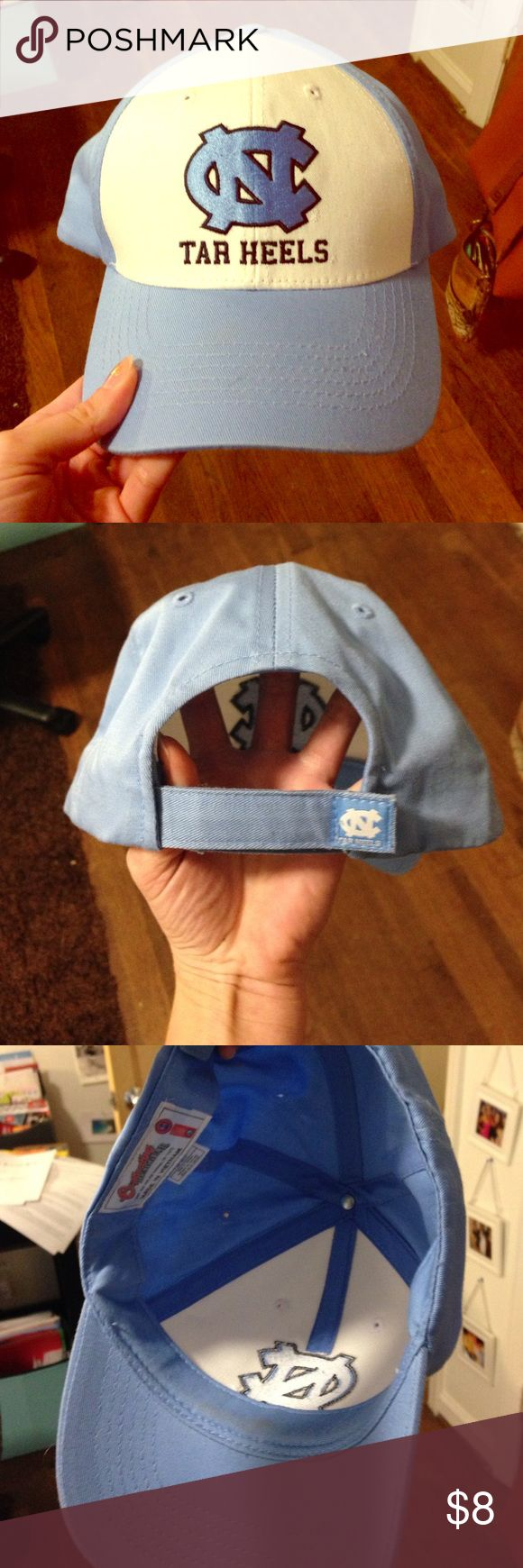 UNC Tar Heel cap Carolina blue and white with UNC logo. Adjustable strap. Other