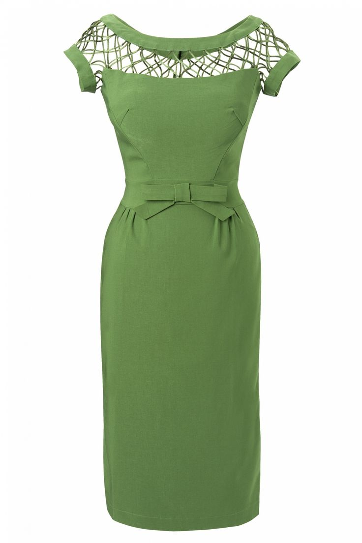 Vintage 50s Dresses for Sale | Bettie Page Clothing - 50s Alika Green pencil dress TATYANA