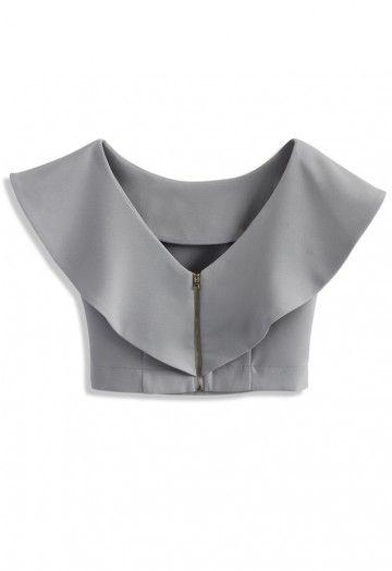 - Frilling shoulder - Boat neckline with deep V-shape back - Exposed back zip closure - 35% Cotton, 65% Polyester - Machine washable  Size(cm) Length Bust Waist S/M      34    94    74 Size(inch) Length Bust Waist S/M       13.5   37    29  * S/M fits for US2-6 UK6-10 EU34-38
