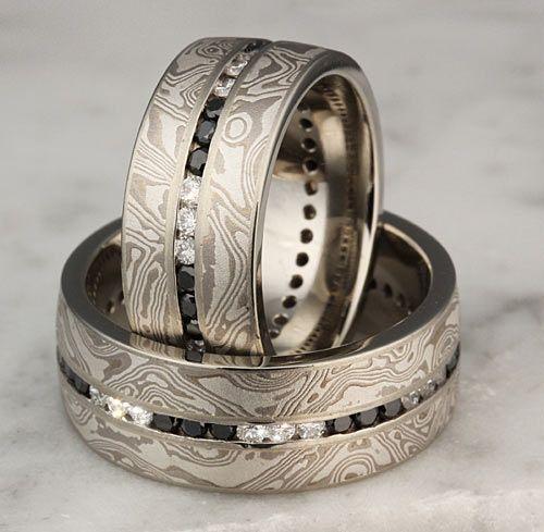 Black and white diamonds in mokume wedding rings