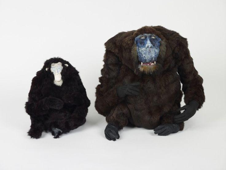 Francis Upritchard, Mask Monkey, 2009, Fur, leather, modelling materials, 35.8 x 33.8 x 37.4 cm and Ug Monkey, 2009, Fur, leather, modelling materials, 51.1 x 61.4 x 60.7 cm