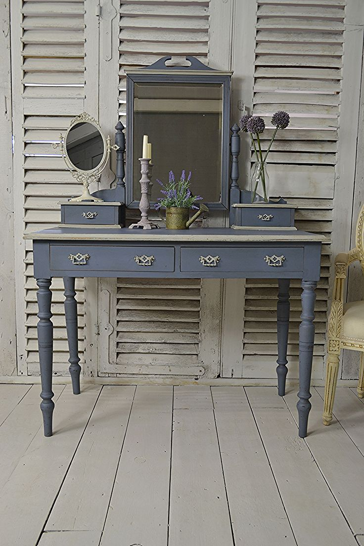 #letstrove This divine Antique Dressing Table is perfect for any bedroom! Painted in Little Greene Juniper Ash, with F&B Lamp Room Grey detail and Free UK Delivery! https://www.thetreasuretrove.co.uk/bedroom-storage/victorian-shabby-chic-2-drawer-dressing-table #antiquefinds #littlegreene #shabbychicfurniture
