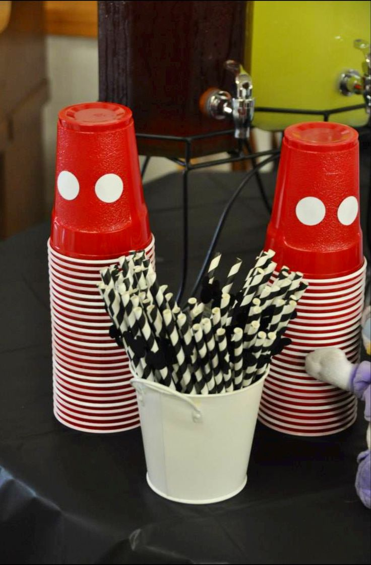 Asher's 2nd Birthday! Mickey Mouse Clubhouse Party ~ cups and straws