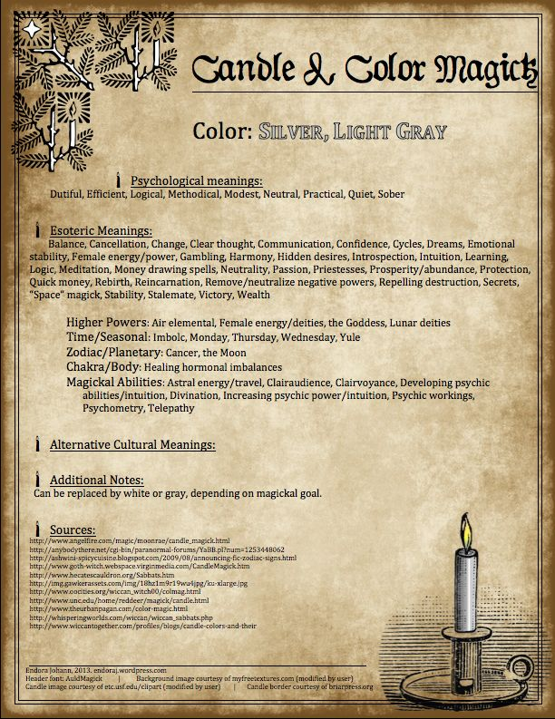 Candles:  #Candle & #Color #Magick ~ Silver, Light Gray.