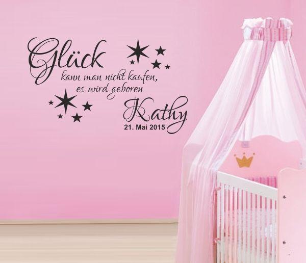 Wandaufkleber Wandtattoo Kinder Baby Aufkleber GLÜCK Geburt Name Datum Datum 128 | eBay