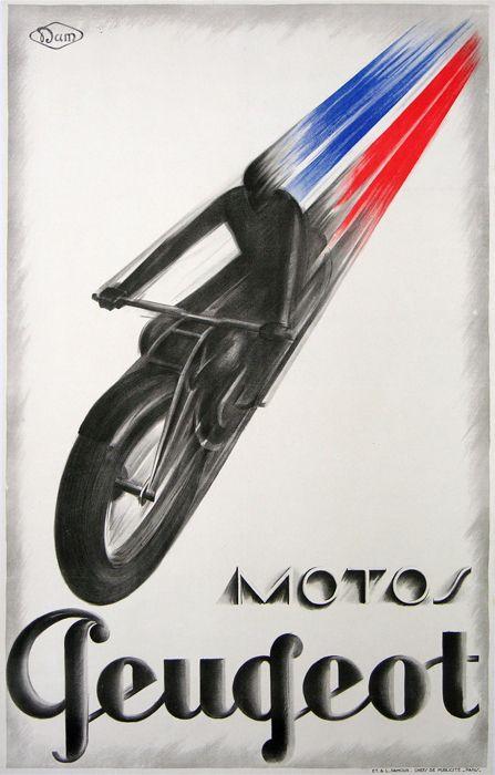 affiche ancienne motos peugeot vintage poster : affiches anciennes de DAM dit DAMOUR