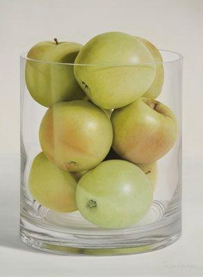 Eigentijds stilleven:in een eenvoudige compositie met meesterlijk geschilderde appels wil Ria De Henau (geboren in 1954) er ons aan herinneren hoe mooi deze alledaagse dingen zijn; schoonheid is voeding voor lichaam en voor geest.