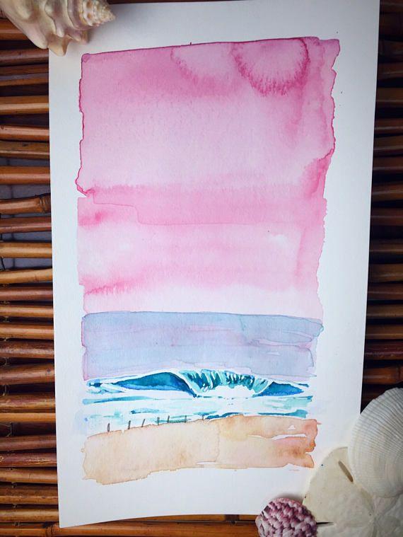 Under the Rose Sky original watercolor painting ocean