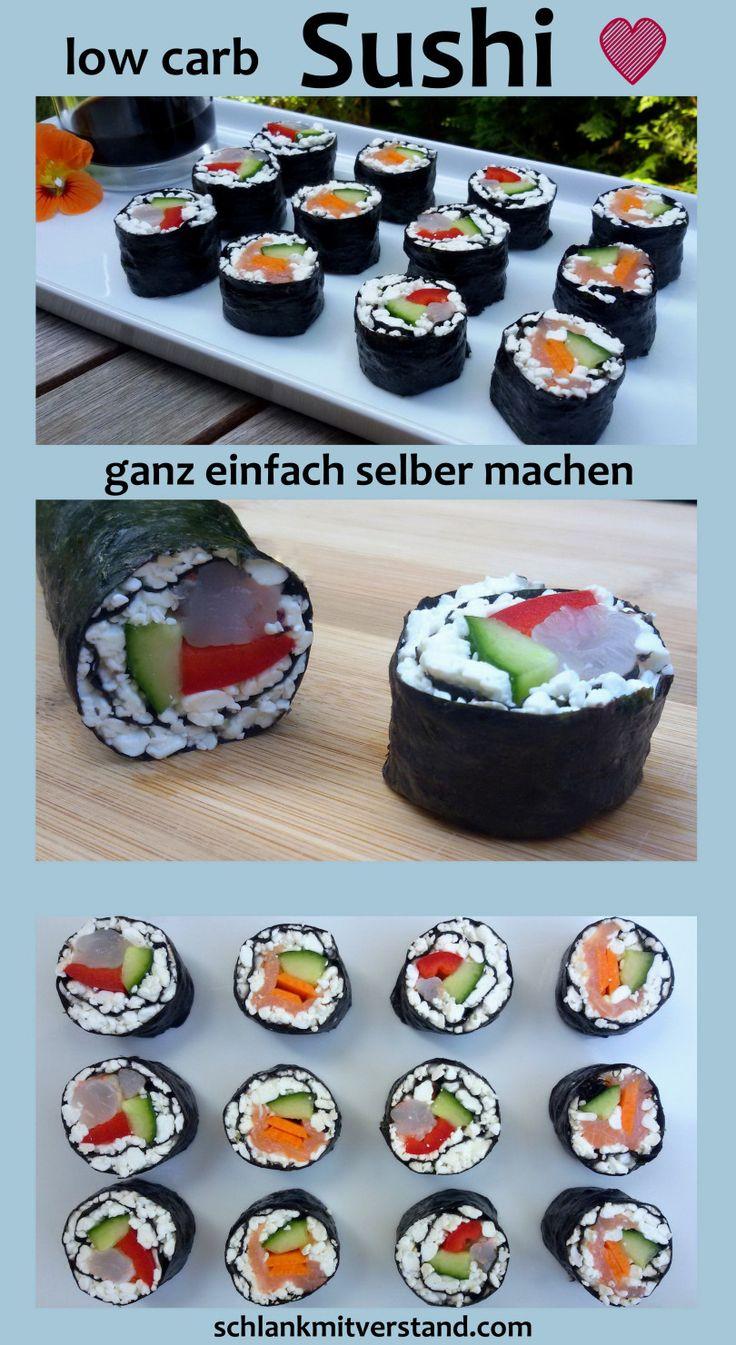 Sushi low carb  Das traditionelle Sushi aus Japan ist bis auf den Reis ein tolles low carb, bzw. LCHF Gericht. Wer Sushi auch so gerne mag, sollte unbedingt die reisfreien Varianten mit körnigem Frischkäse oder Blumenkohl ausprobieren. Die Nori Blätter (gerösteter Seetang) sind sehr eiweißreich und enthalten viel Jod. Auf Grund des Jodgehaltes sollten aber nicht mehr als 2 ganze Nori Blätter pro Tag verzehrt werden. Die Sushi Rollen sind ideal zum Mitnehmen (gekühlt) und eignen sich…