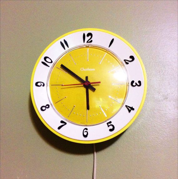 Bright Yellow Wall Clock Lux Chatham Electric kitchen by SavedTime