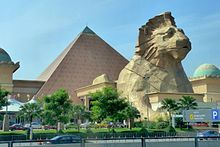 Sunway Pyramid in Subang Jaya, Malaysia is the mall that has an Egyptian-inspired Pyramid with a lion designed Sphinx.