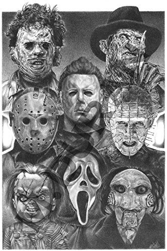 HORROR NIGHTS MOVIE VILLAINS - SCARIEST POSTER EVER ORIGINAL SKETCH PRINTS - POSTER SIZE - BLACK & WHITE - FEATURES ALL TIME FAVORITE EVIL GUYS –PRINT OF HIGHLY-DETAILED, HANDMADE DRAWING BY ARTIST MIKE DURAN   http://citymoonart.com/horror-nights-movie-villains-scariest-halloween-decoration-ever-original-sketch-prints-poster-size-black-white-features-all-time-favorite-evil-guys-michael-myers-pinhead-chucky-jason-freddy-krueger-scream-and-leatherhead-print-of-highly-detailed-handmade-/