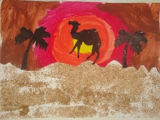 L'école des Choupinous: Art visuel : coucher de soleil dans le désert