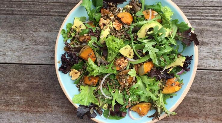 Puy Lentil & Roast Pumpkin Salad. One of our favourites from the Affordable Wholefoods recipe blog.