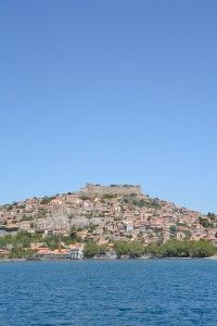 A spectacular view in castle topped Molyvos.