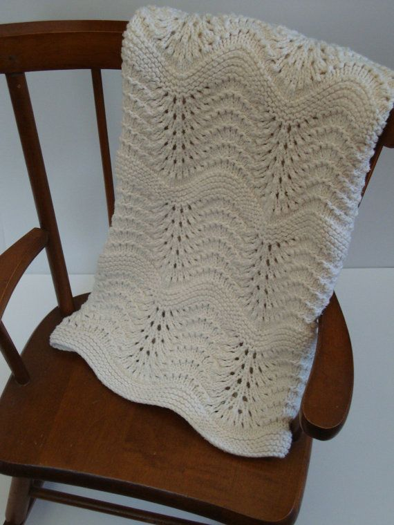 Organic Baby Blanket: Heirloom Quality Feather and Fan Lace Hand Knit Baby Blanket, 100% Organic Un-Dyed Cotton - MADE TO ORDER
