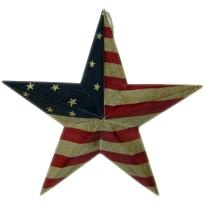 Free Shipping NEW USA/American Flag w/Crackled look Hanging Metal Star (9.5 Inch) - Country decor