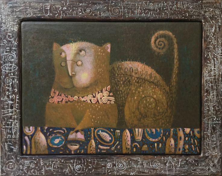 """Pavel Nikolaev, """"Cat"""", 60х80(80х100), oil, wood, 2015."""
