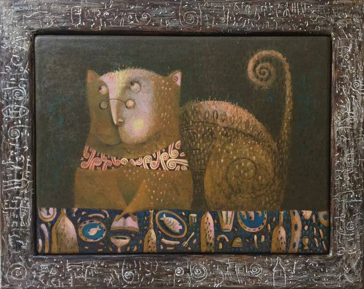 "Pavel Nikolaev, ""Cat"", 60х80(80х100), oil, wood, 2015."