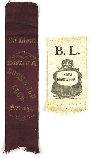 """The two Belva Lockwood ribbons exhibited here were both worn at satirical  Lockwood """"Mother Hubbard"""" parades, where men, dressed in the """"Hubbard""""  style of d..."""
