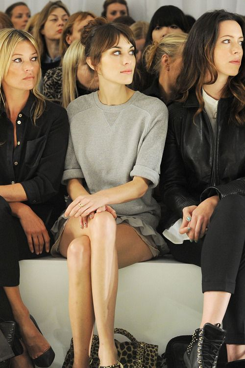 Kate Moss, Alexa Chung and Rebecca Hall front row for Mulberry.