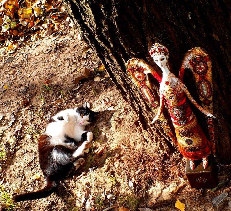 флюмо бисер камни 30 см + кошка:)))