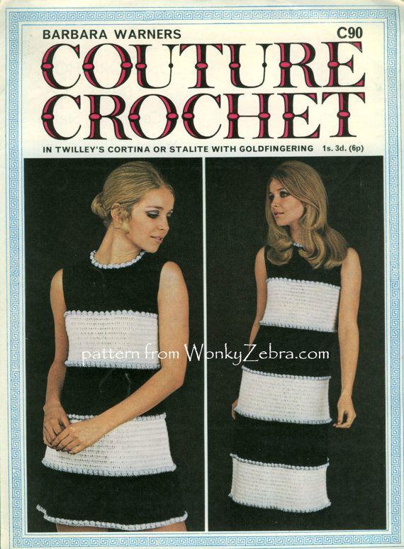 Vintage Crochet Pattern 157 PDF Zebra Maxi Dress C90 by wonkyzebra