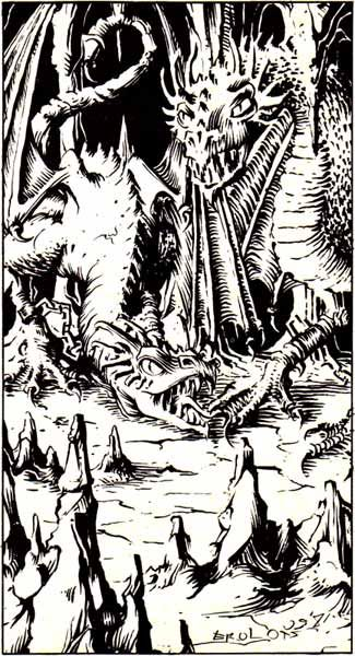 oldschoolfrp:    The old troglodyte chief keeps 2 wyverns to ride into battle. (Erol Otus from AD module D1-2: Descent into the Depths of the Earth, by Gary Gygax, TSR, 1981.)