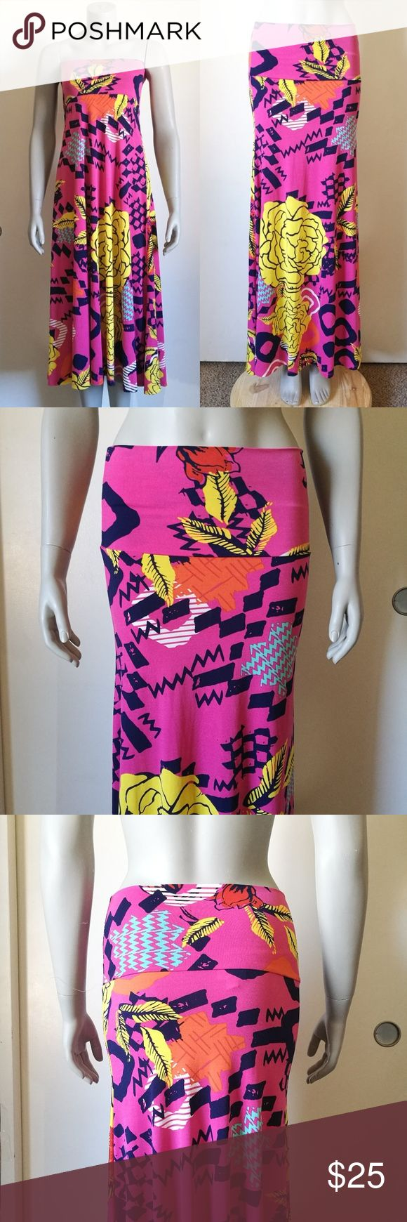 Lularoe Maxi Printed Skirt or Dress Size XXS Bright pink lularoe maxi. Versatile, looks great worn as a maxi skirt or a maxi tube dress. New without tags, has never been washed or worn. Size XXS. LuLaRoe Skirts Maxi