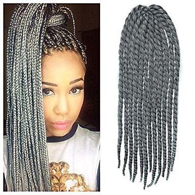 12-24 pouces crochet tresse havana mambo afro cheveux de torsion l'extension gris argent avec crochet de 5004510 2016 à €6.85