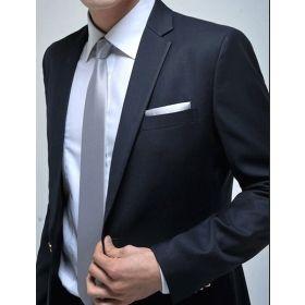 Black suit black shirt white tie wedding