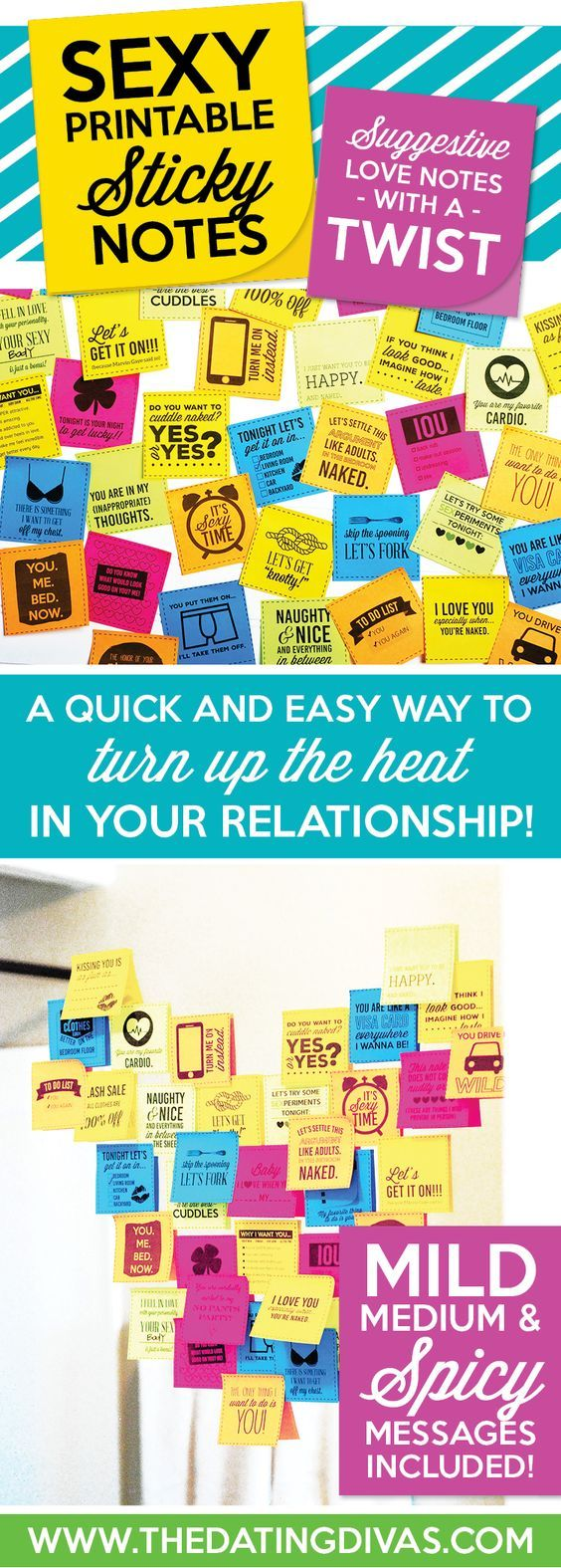 Printable sticky love notes you can leave for your love!