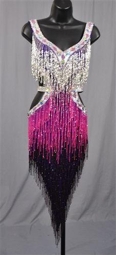 Sexy Silver & Purple Beads Fringe Latin Dress
