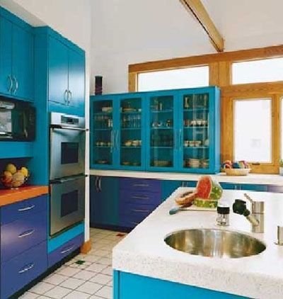 Teal And Cobalt Blue Kitchen Add A Pop Of Yellow Or Orange I