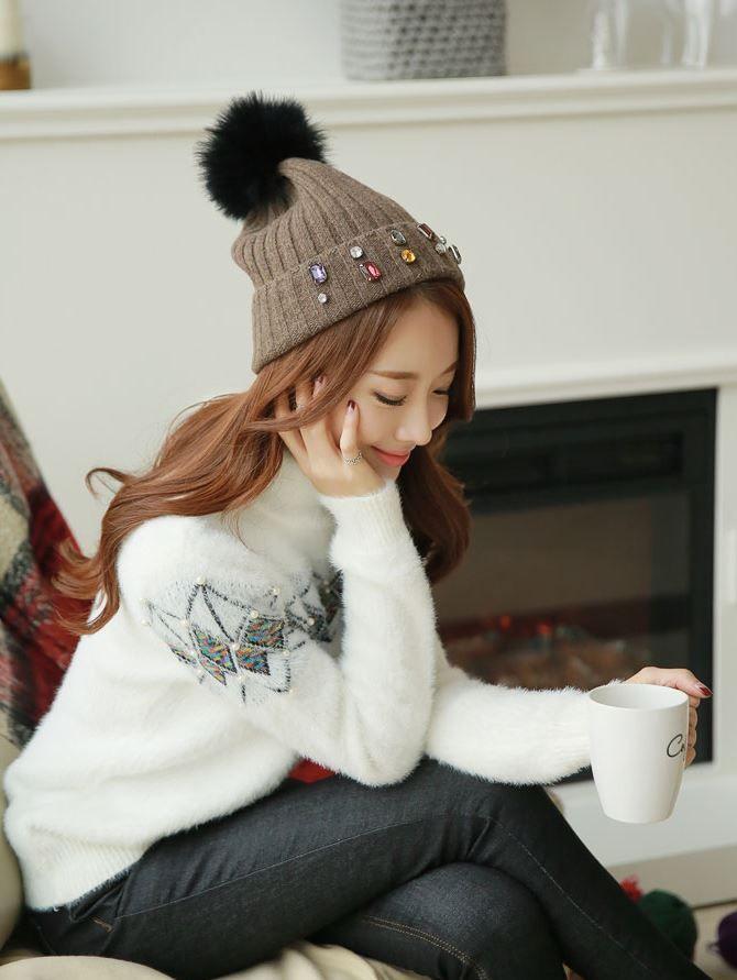 Styleonme_Soft Diamond Knit Sweater #sweater #knit #knits #soft