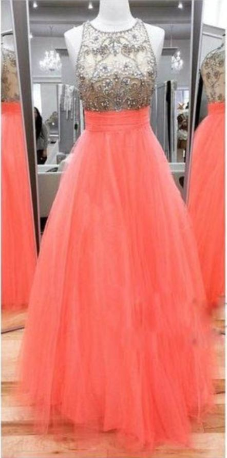 Long Coral Tulle Prom Dress with Beaded