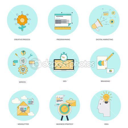 zestaw ikon płaskiej linii — Ilustracja stockowa #51346853
