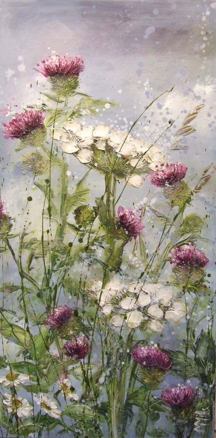 ❀ Blooming Brushwork ❀ garden and still life flower paintings - Prickled Pink by Marie Mills