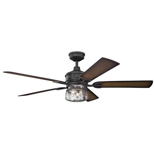 Lyndon Patio Distressed Black Three-Light 60-Inch Wet Location LED Ceiling Fan