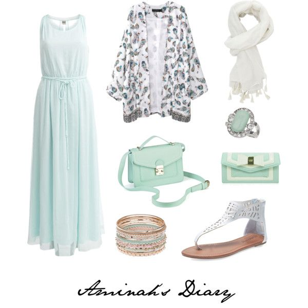 Pale mint dress, printed kimono, white sandals, gold/mint/pink bracelets, silver/mint ring, white scarf