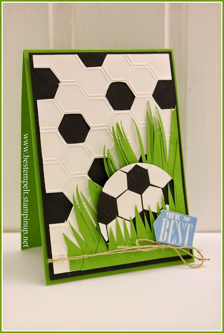 Stampin' Up! ... handmade card from www.bestempelt.de: Cards for Dad ... hexagons ... soccer ball in grass ... luv the use of die cut hexagons ... fab card!!